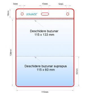 Husa ecuson 2 buzunare 115x130+60s mm